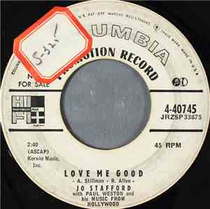 Jo Stafford With Paul Weston And His Music From Hollywood - Love Me Good